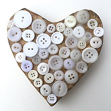 White Button Heart by Tiffany Ownbey (Mixed-Media Wall Sculpture)