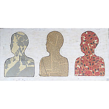 Three Portraits, Number 2 by Tiffany Ownbey (Mixed-Media Painting)