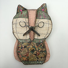 Wall Owl with Scissors 1 by Tiffany Ownbey (Mixed-Media Wall Sculpture)