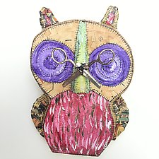 Wall Owl with Scissors 3 by Tiffany Ownbey (Mixed-Media Wall Sculpture)