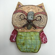 Wall Owl With Scissors 2 by Tiffany Ownbey (Mixed-Media Sculpture)