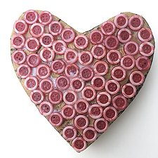 Red Button Heart by Tiffany Ownbey (Mixed-Media Wall Sculpture)