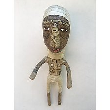 Small with White Pants by Tiffany Ownbey (Mixed-Media Wall Sculpture)