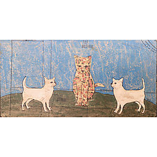 Three Cats on a Hill by Tiffany Ownbey (Mixed-Media Collage)