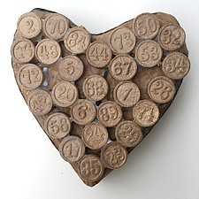 Bingo Heart by Tiffany Ownbey (Mixed-Media Wall Sculpture)