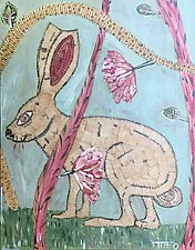 Bunny with Pink Flowers by Tiffany Ownbey (Acrylic Painting)