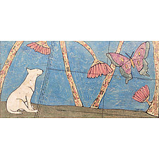 Dog and a Butterfly by Tiffany Ownbey (Mixed-Media Collage)
