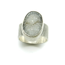 Gray and White Drusy Quartz Ring by Jackie Jordan (Silver & Stone Ring)
