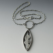 Artful Leaf Necklace II by Jackie Jordan (Silver Necklace)