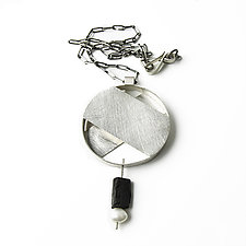 Circle and Slices Necklace by Jackie Jordan (Silver & Pearl Necklaces)