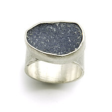Blue-Gray Drusy Quartz Ring by Jackie Jordan (Silver & Stone Ring)