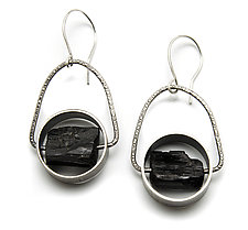 Jory Black Tourmaline and Sterling Silver Earrings by Jackie Jordan (Silver & Stone Earrings)