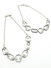 Pearl Connections Necklace by Jackie Jordan (Silver & Pearl Necklace)