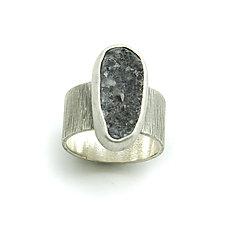 Charcoal Gray Drusy Quartz Ring by Jackie Jordan (Silver & Stone Ring)