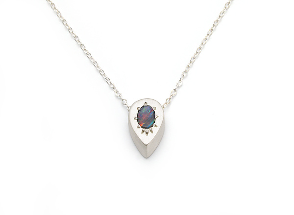 Tiny Drop Necklace with Boulder Opal