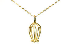 Gold Doily Drop Pendant by Jill Gower (Gold Necklace)