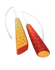 Rendez Vous en Rouge Earrings by Jeffrey Lloyd Dever (Silver & Polymer Earrings)