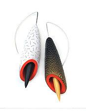 Fleur Moderne Earrings by Jeffrey Lloyd Dever (Silver & Polymer Earrings)