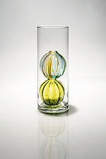 Bead Budvase, Lime Double Globe by Tracy Glover (Art Glass Vase)