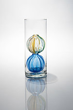 Bead Bud Vase - Blue Double Globe by Tracy Glover (Art Glass Vase)