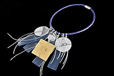 Vision in Blue Necklace by Phyllis Clark (Silver & Resin Necklace)