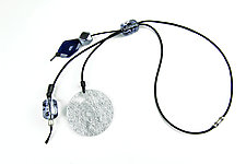 Blue Midnight Mood Necklace by Phyllis Clark (Leather, Stone & Acrylic Necklace)