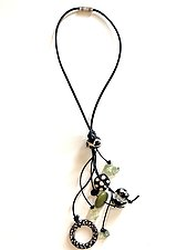 Dancing Jade Necklace II by Phyllis Clark (Leather, Stone, & Bead Necklace)