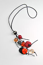 Whimsical Necklace II by Phyllis Clark (Stone, Leather, and Acrylic Necklace)