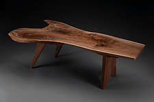 Highly Figured Walnut Live Edge Table by Tony Casper (Wood Coffee Table)