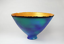 Blue-Green and Gold Prosperity Bowl by Cheryl Williams (Ceramic Bowl)