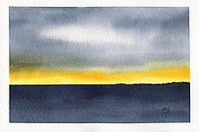 Distant Mountains over Sea by Chris Malcomson (Watercolor Painting)