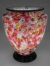 Rose, Gold, and White Lamp by Curt Brock (Art Glass Table Lamp)