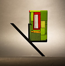 Mini Art Window Green by Vicky Kokolski and Meg Branzetti (Art Glass Sculpture)