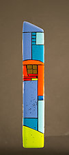 House Party Blue VI by Vicky Kokolski and Meg Branzetti (Art Glass Wall Sculpture)