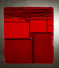 Red In-Between II by Vicky Kokolski and Meg Branzetti (Art Glass Wall Sculpture)
