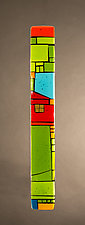 House Party Green IX by Vicky Kokolski and Meg Branzetti (Art Glass Wall Sculpture)