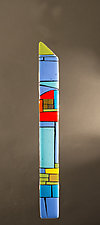 House Party Blue II by Vicky Kokolski and Meg Branzetti (Art Glass Wall Sculpture)