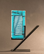 Blue Cascade by Vicky Kokolski and Meg Branzetti (Art Glass Sculpture)