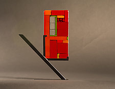 Mini Windows Red II by Vicky Kokolski and Meg Branzetti (Art Glass Sculpture)