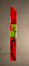 House Party Red VIII by Vicky Kokolski and Meg Branzetti (Art Glass Wall Sculpture)