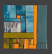 Steel Blue II by Vicky Kokolski and Meg Branzetti (Art Glass Wall Sculpture)