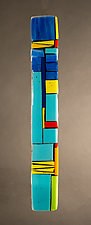 House Party Blue IV by Vicky Kokolski and Meg Branzetti (Art Glass Wall Sculpture)