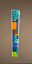 House Party Blue by Vicky Kokolski and Meg Branzetti (Art Glass Wall Sculpture)