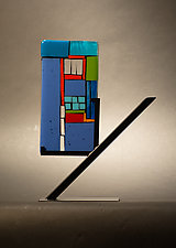 Mini Art Window Blue by Vicky Kokolski and Meg Branzetti (Art Glass Sculpture)