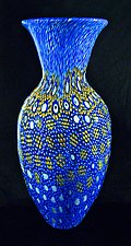 Blue Broadband Murrini Vase 3 by Michael Egan (Art Glass Vase)