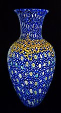 Blue Broadband Murrini Vase 4 by Michael Egan (Art Glass Vase)