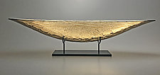 Golden Sunset Boat by Nicholas Stelter (Art Glass Sculpture)