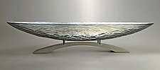 London Fog Oval Platter with Arch Pedestal by Nicholas Stelter (Art Glass Sculpture)