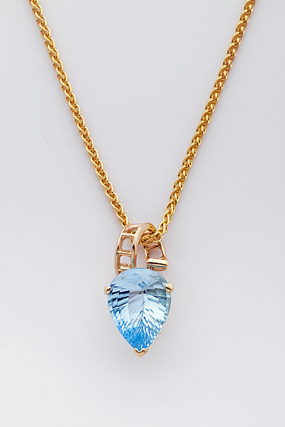 Mesh 14K Ribbon Pendant with Fancy Cut Pear Shaped Blue Topaz