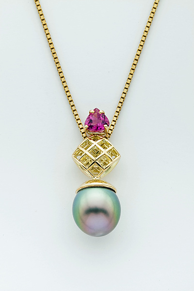 Mesh 14K Diamond Pendant with Tahitian Drop Pearl and Pink Tourmaline